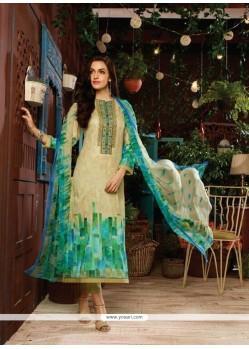 Riveting Print Work Multi Colour Cotton Satin Designer Straight Salwar Kameez