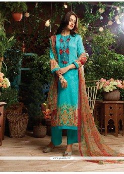 Suave Cotton Satin Blue Designer Straight Salwar Kameez