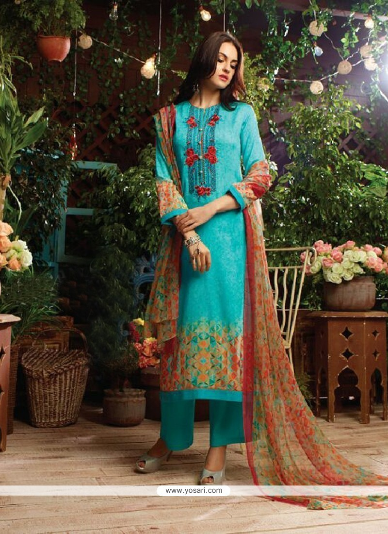 Suave Cotton Satin Blue Designer Straight Salwar Kameez