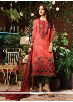Glitzy Cotton Satin Multi Colour Print Work Designer Straight Salwar Kameez