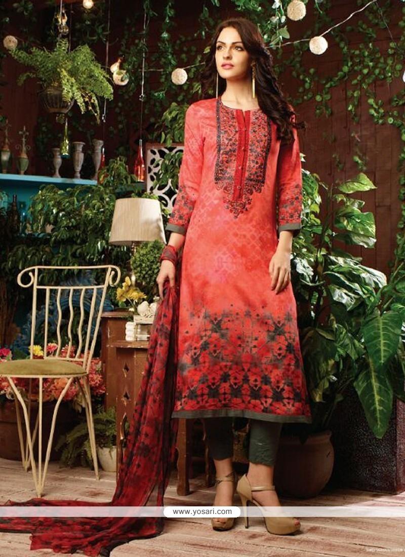 Glitzy Cotton Satin Multi Colour Print Work Designer Straight Salwar Kameez