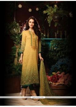 Prominent Embroidered Work Yellow Designer Straight Salwar Kameez