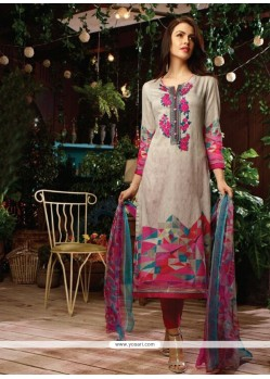 Embroidered Cotton Satin Designer Straight Salwar Kameez In Multi Colour