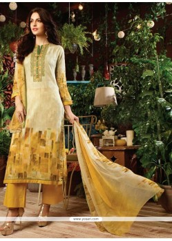 Whimsical Cotton Satin Print Work Designer Straight Salwar Kameez
