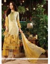 Whimsical Cotton Satin Print Work Designer Straight Salwar Kameez