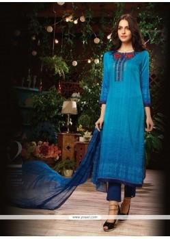 Graceful Print Work Designer Straight Salwar Kameez