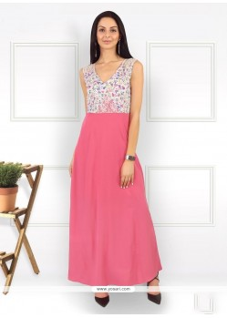 Intriguing Pink Print Work Pure Crepe Party Wear Kurti