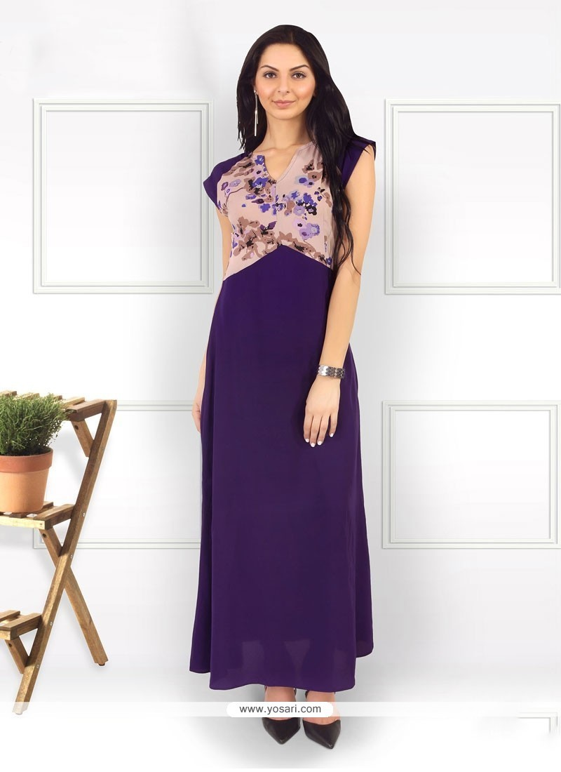 Royal Purple Print Work Pure Crepe Party Wear Kurti