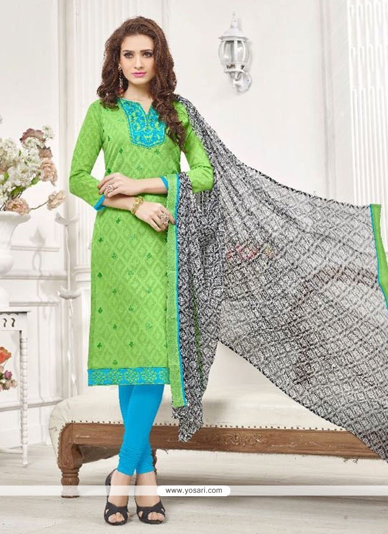 Exceptional Embroidered Work Cotton Sea Green Churidar Designer Suit