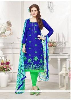 Perfect Blue Cotton Churidar Designer Suit