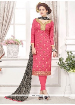 Embroidered Cotton Churidar Designer Suit In Pink
