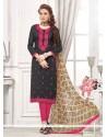 Black Cotton Churidar Designer Suit