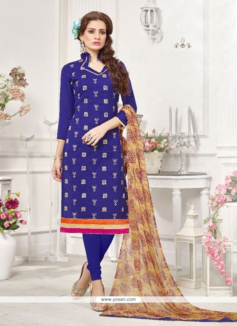 Affectionate Cotton Blue Embroidered Work Churidar Designer Suit