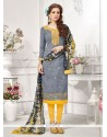 Baronial Grey Embroidered Work Cotton Churidar Designer Suit