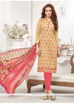Peach Cotton Churidar Designer Suit