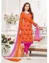 Radiant Embroidered Work Orange Cotton Churidar Designer Suit