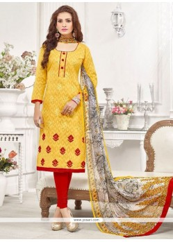 Stupendous Embroidered Work Churidar Designer Suit