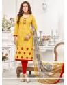 Stupendous Embroidered Work Churidar Designer Suit