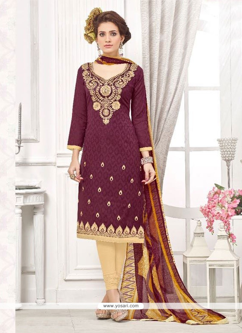 Trendy Embroidered Work Cotton Wine Churidar Designer Suit