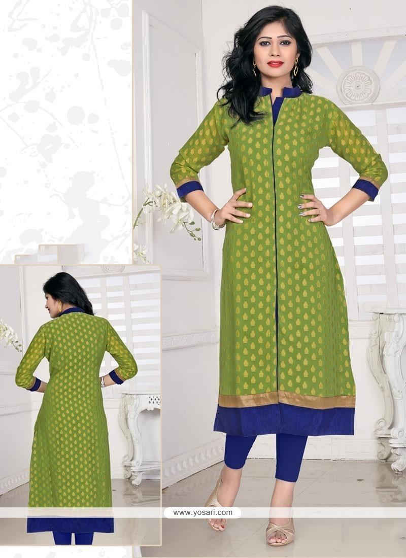 Prepossessing Lace Work Viscose Green Designer Kurti