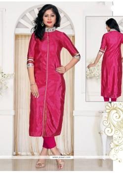 Winsome Lace Work Banglori Silk Hot Pink Designer Kurti