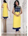 Prime Georgette Yellow Print Work Casual Kurti