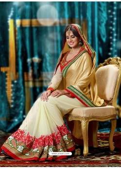 Cream And Beige Banarasi Saree