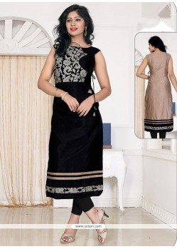 Blissful Black Lace Work Banglori Silk Designer Kurti