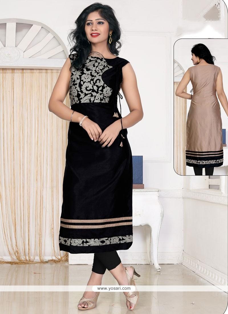 Blissful Black Lace Work Banglori Silk Designer Kurti