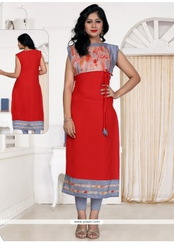 Scintillating Print Work Red Designer Kurti