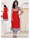 Scintillating Print Work Red Designer Kurti