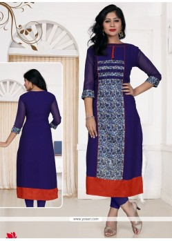 Mystical Print Work Blue Georgette Casual Kurti