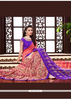 Compelling Multi Colour Patch Border Work Georgette Printed Saree