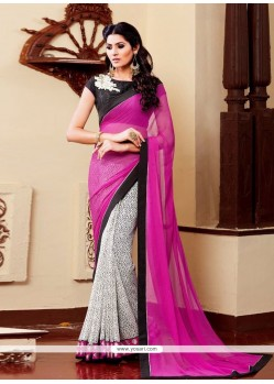 Sorcerous Georgette Patch Border Work Designer Saree