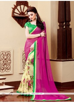 Thrilling Patch Border Work Georgette Printed Saree