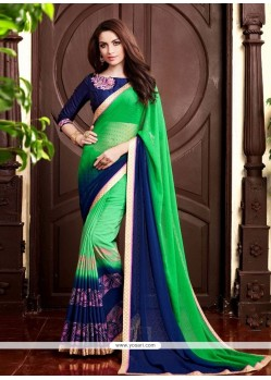 Prodigious Sea Green Designer Saree