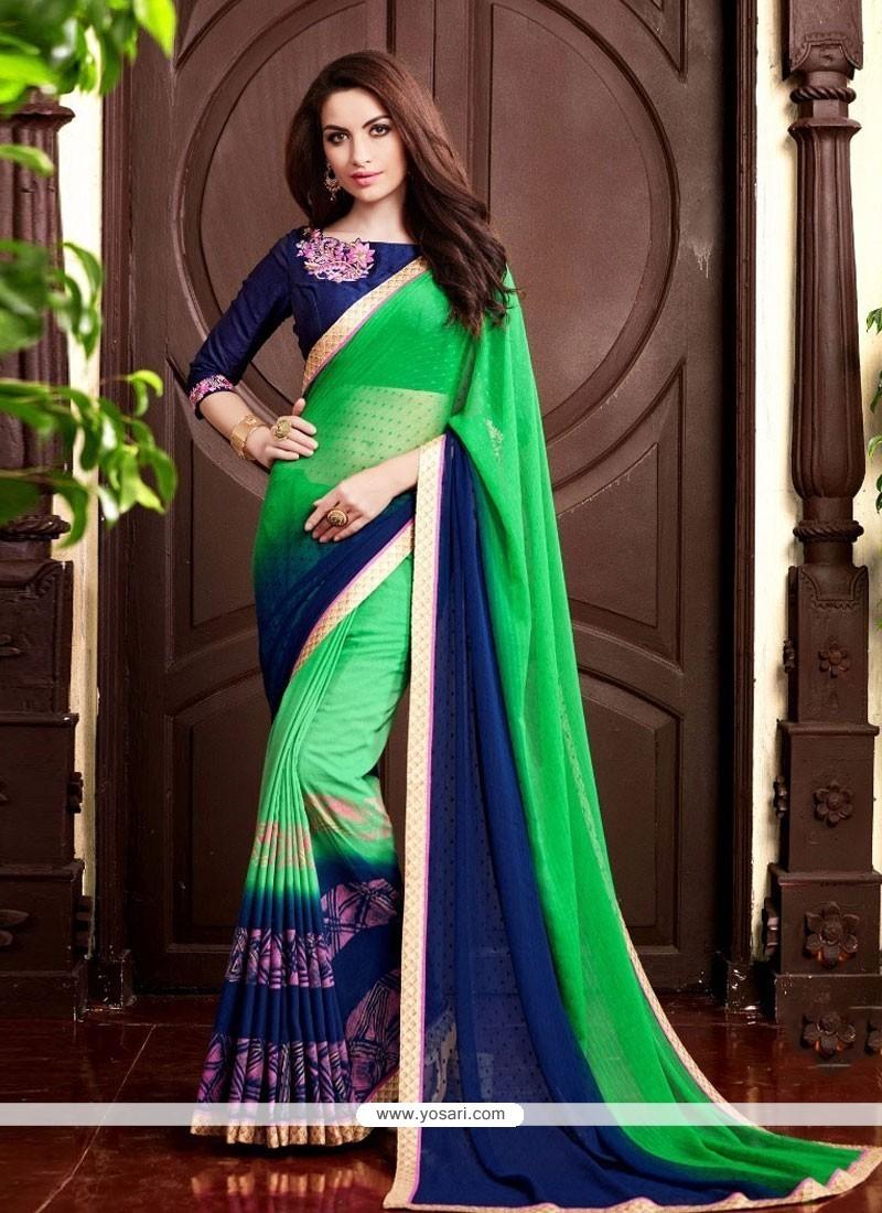 Prodigious Sea Green Designer Saree