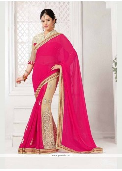 Patch Border Georgette Classic Saree In Hot Pink