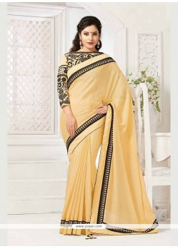Impeccable Beige Embroidered Work Georgette Classic Saree