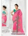 Gratifying Net Pink Designer Saree
