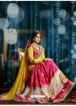 Magenta And Yellow Pure Georgette Designer Saree