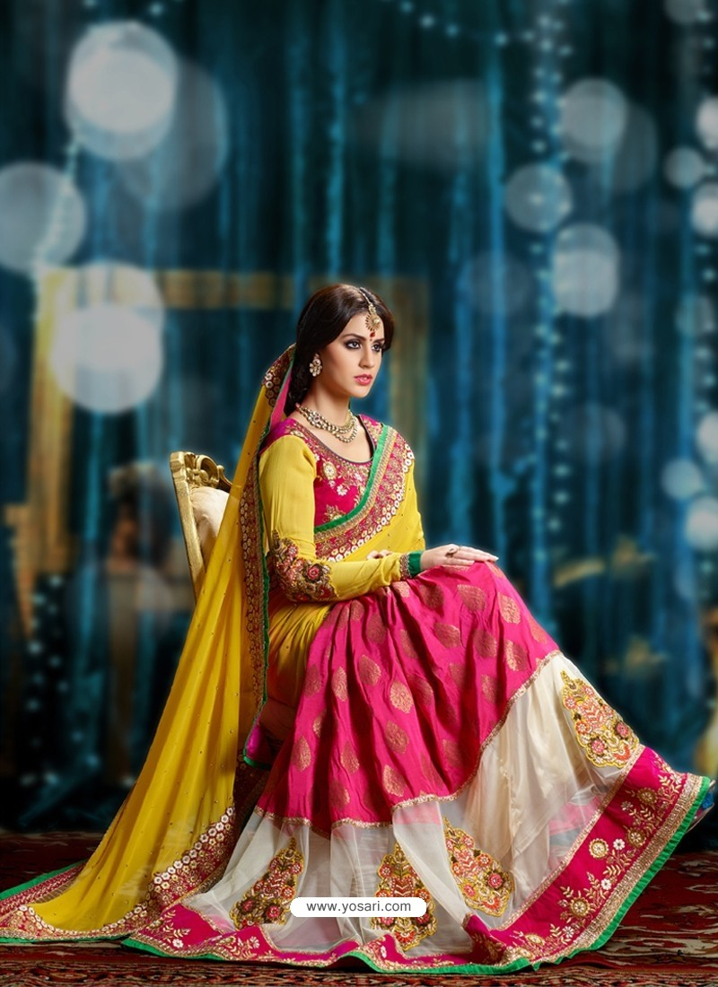 Magenta And Yellow Pure Georgette Designer Saree