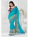 Spellbinding Turquoise Georgette Classic Saree
