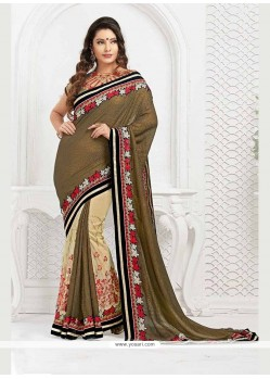 Fashionable Net Embroidered Work Classic Designer Saree