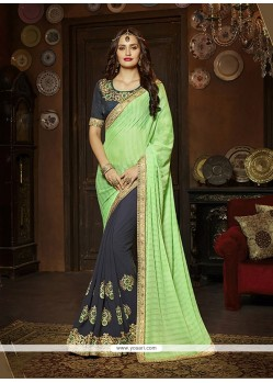 Sightly Silk Green And Navy Blue Classic Designer Saree