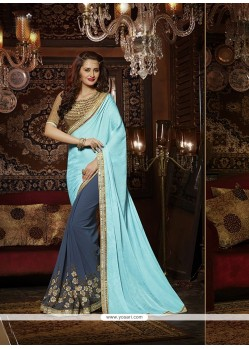 Charming Blue Designer Saree