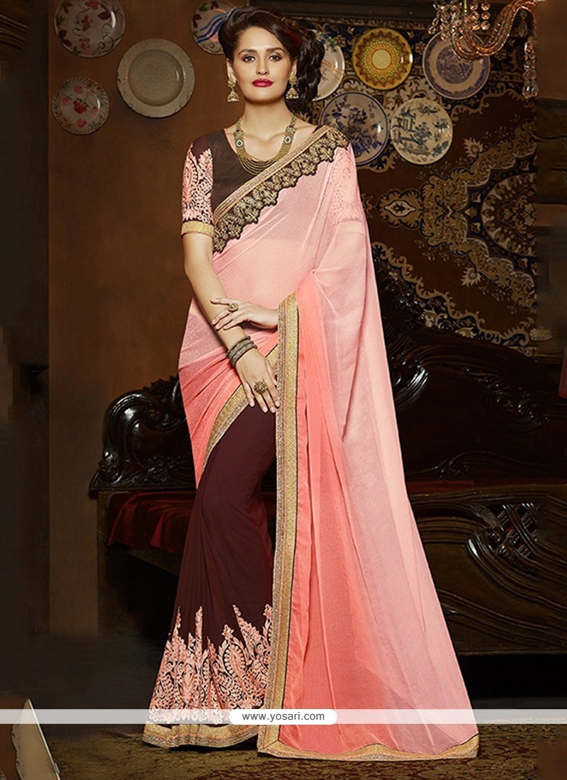 Opulent Jacquard Embroidered Work Classic Saree