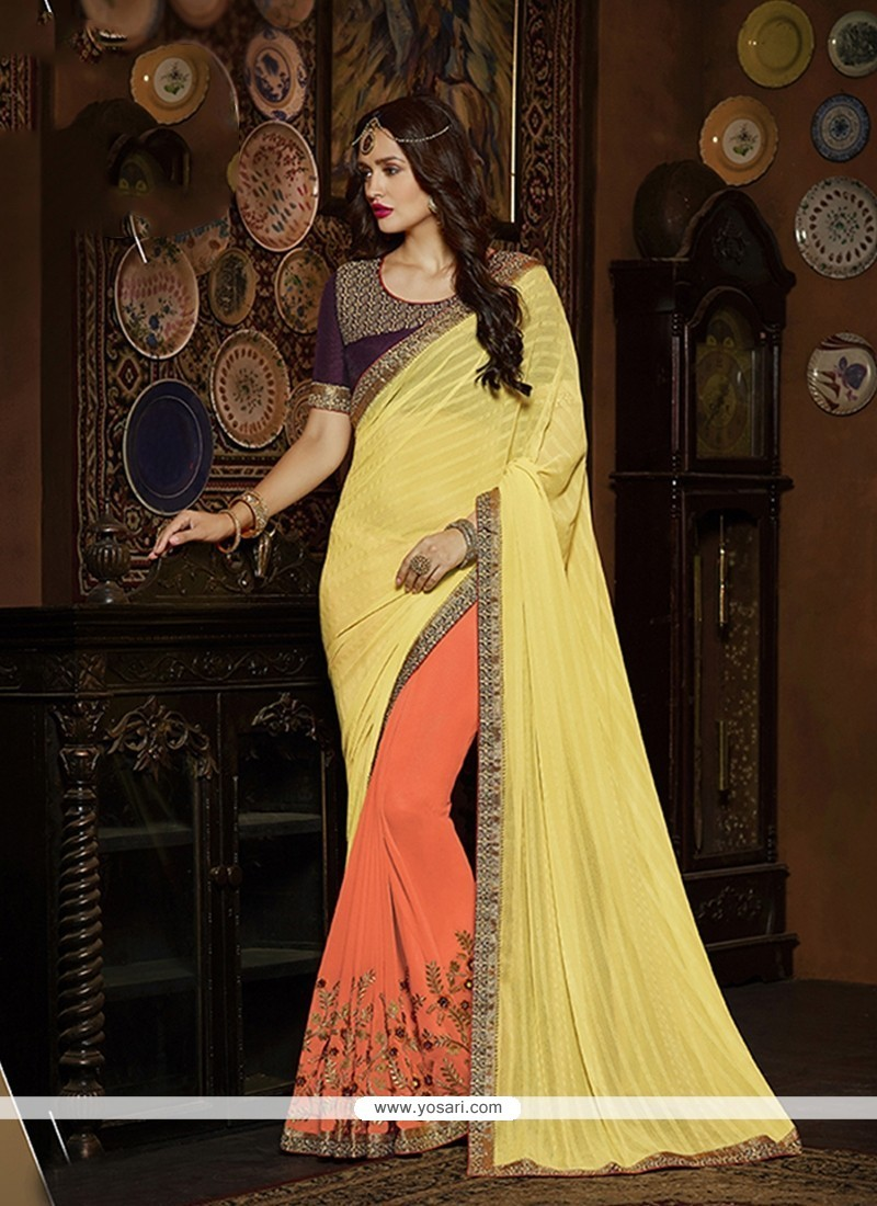 Sunshine Orange Embroidered Work Georgette Classic Designer Saree