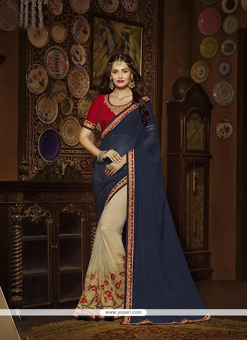 Radiant Silk Navy Blue Designer Saree