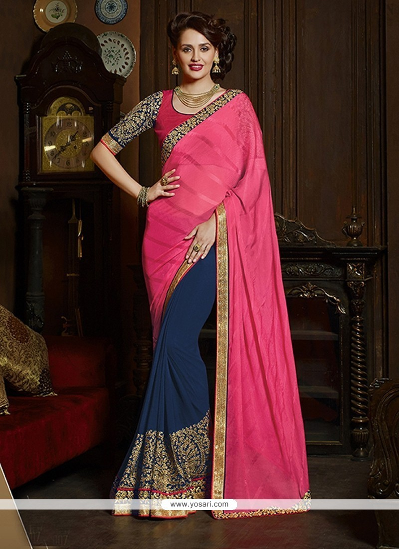 Cherubic Navy Blue Georgette Classic Saree